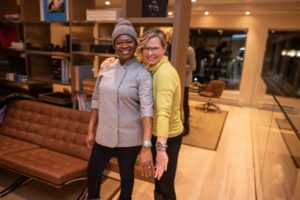Chef Mawa McQueen and Monika Vass at the Panerai boutique on Hyman Ave