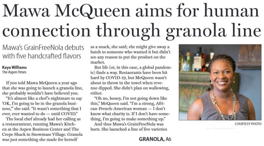 Aspen Times: Mawa McQueen aims for human connection through new granola line