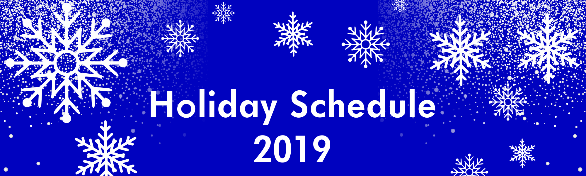 November & December 2019 Holiday Schedule
