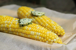 corn on the cob with savory butter